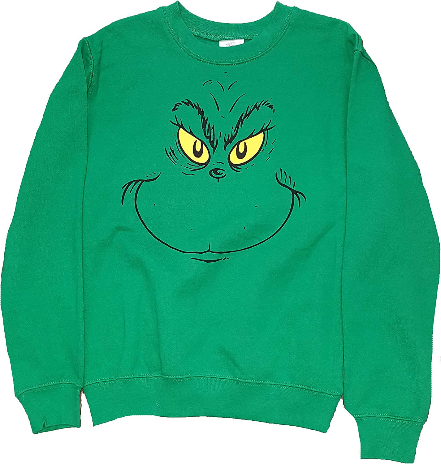 Junior's How The Grinch Stole Christmas Grinch Face Green Sweatshirt