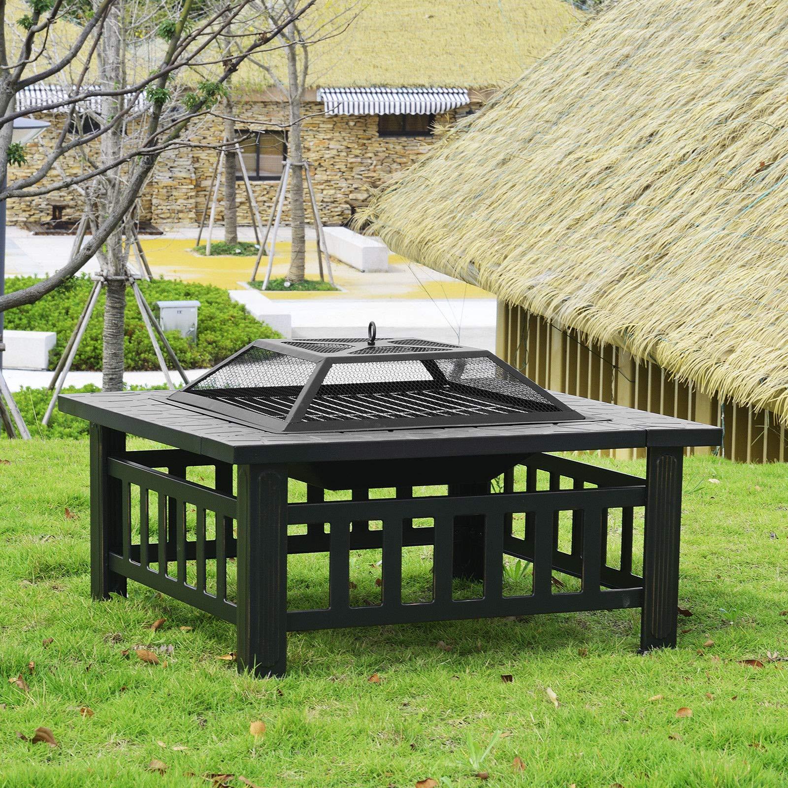 Lapha 3 en 1 Chimenea de jardín para Exterior, Patio, Metal, Estufa de Metal para jardín, Quemador Cuadrado de 32 Pulgadas, Cubierta de Malla Cuadrada para Hoguera de jardín: Amazon.es: Jardín
