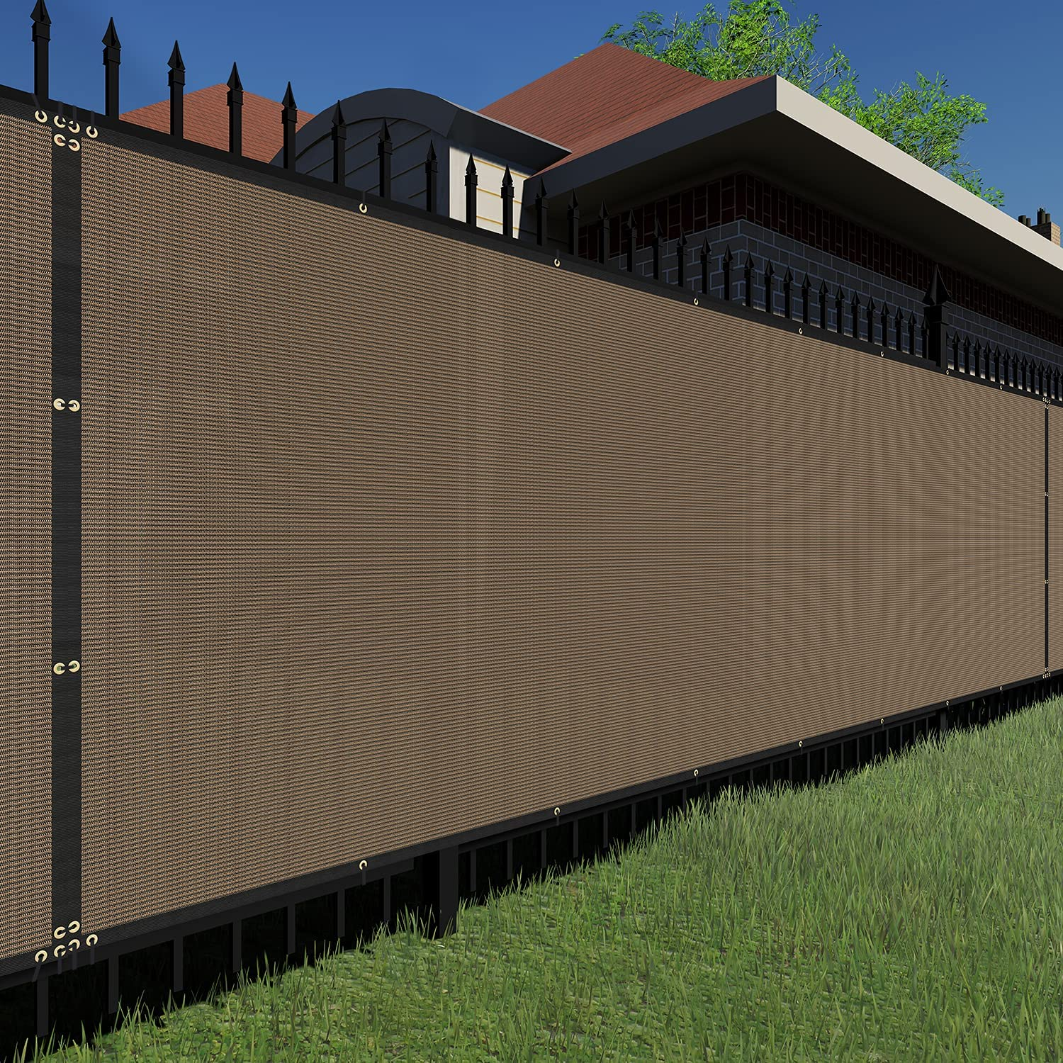 TANG Sunshades Fashion Depot 5'FTx12'FT Popular standard Brown Tempo Privacy Screen Fence