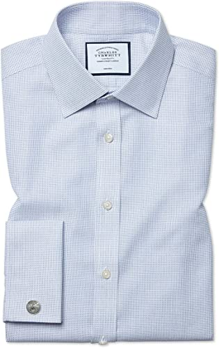 Chemise à Motif à Effet Tirets Bleue Slim Fit Sans Repassage   Bleu (Poignet Mousquetaire)   15.5   35