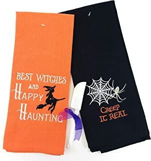 Halloween Kitchen Hand Towel Set: (Orange/Black)