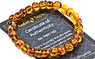 Baltic Amber Bracelet for Adults Made on Elastic Band – Carpal Tunnel, Arthritis, Headache, Migraine Pain Relief (Cognac, 7.5 inch.)
