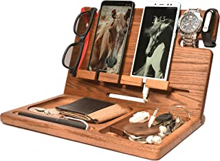 BarvA Wood Dock-ing Station Tray Two Cell-Phone Smart-Watch Holder Men Charging Accessory Night-Stand Father Mobile Gadget...