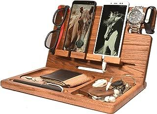 Wood 2 Cell Phone Stand Smartwatch Wallet Holder. Man Cave Multiple Gadget Dock Mobile Accessory Organizer. Nightstand Tablet Charging Docking Station. Wooden Desk Storage. Bed Side Dresser Valet Tray