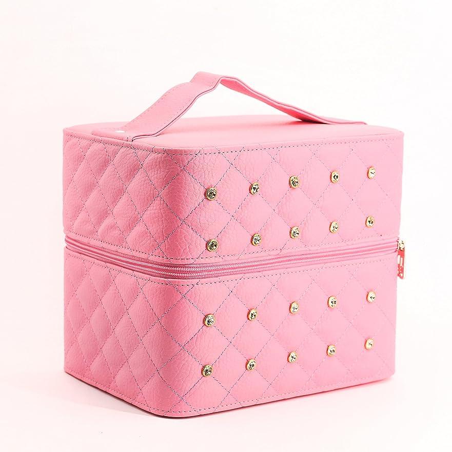 オーバーラン医師子犬AZBEX-TEC メイクボックス 取っ手付 ミラー付き (ピンク)