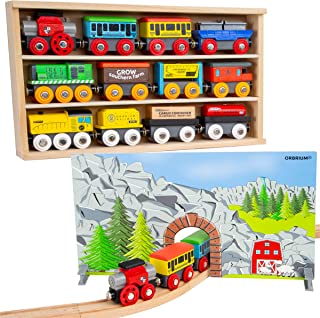 Orbrium Toys 12 (20 Pcs) Wooden Train Cars for Kids + Dual-use Wooden Box Cover/Tunnel Wooden Train Set Trains Toy Compatible with Thomas Wooden Railway, Thomas The Tank Engine, Brio