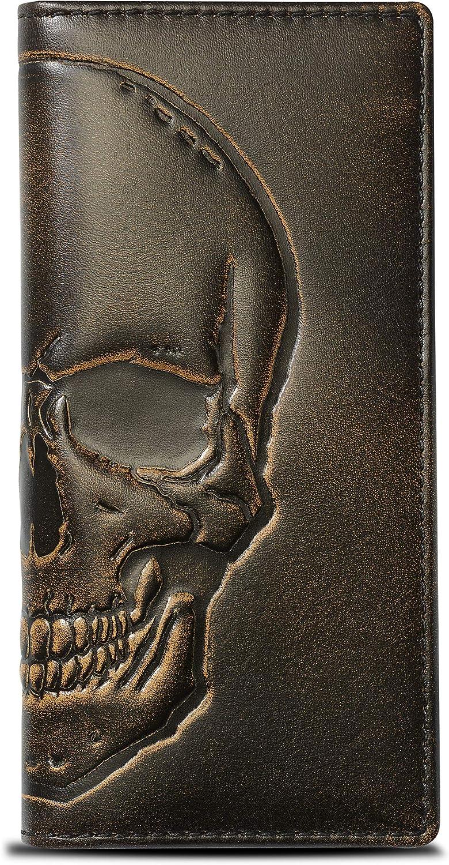 HOJ Co. SKULL Long supreme Wallet For With Grain Men Full Leather Hand Ranking TOP5