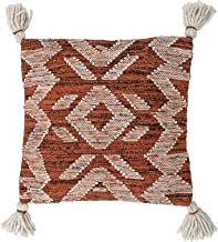 Bloomingville Cream and Rust Square Woven Cotton and Wool Tassels Pillow