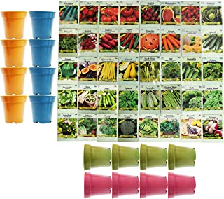 Set of 40 Assorted Vegetable & Herb Seeds with 16 Bamboo 3.5