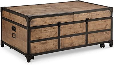Magnussen T4039 Maguire Industrial Storage Trunk Coffee Table in Weathered Barley Finish