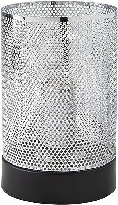 Lighting Collection Table Lamp, Shade, Base, Steel, E14, 40 W, Chrome/Matt Black