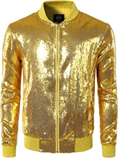 JOGAL Mens Shiny Sequins Nightclub Styles Zip Up Varsity Baseball Bomber Jacket Costume