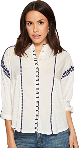 Lucky Brand Embroidered Scalloped Top