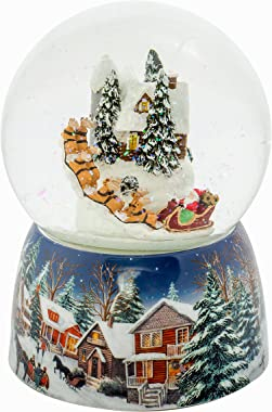 Holiday House Santa in Sleigh 120MM Musical Glitterdome Water Globe Plays Up on the Rooftop