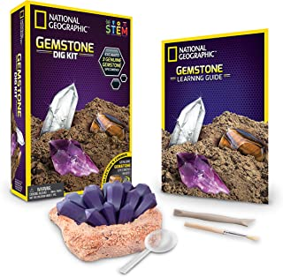 NATIONAL GEOGRAPHIC Gemstone Dig Kit – Excavate 3 real gems including Amethyst, Tiger's Eye & Rose Quartz - Great STEM Science gift for Mineralogy and Geology enthusiasts of any age