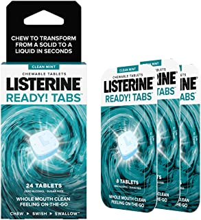 Listerine Ready! Tabs Chewable Tablets with Clean Mint Flavor, 24 Count