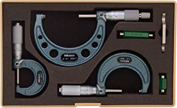 Mitutoyo 103-922 Outside Micrometer Set with Standards, 0-3