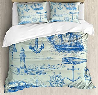 Ambesonne Nautical Anchor Duvet Cover Set, Whale Sail Boat Steering Wheel and Old Lighthouse Fishing Theme Sketchy, Decorative 3 Piece Bedding Set with 2 Pillow Shams, King Size, Eggshell Blue