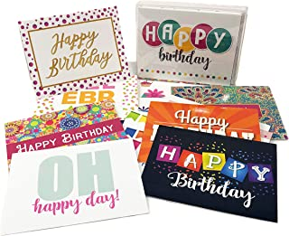 32 Birthday Card Assortment - 16 Unique Assorted Designs Blank Cards - Bulk Set (32 Cards)