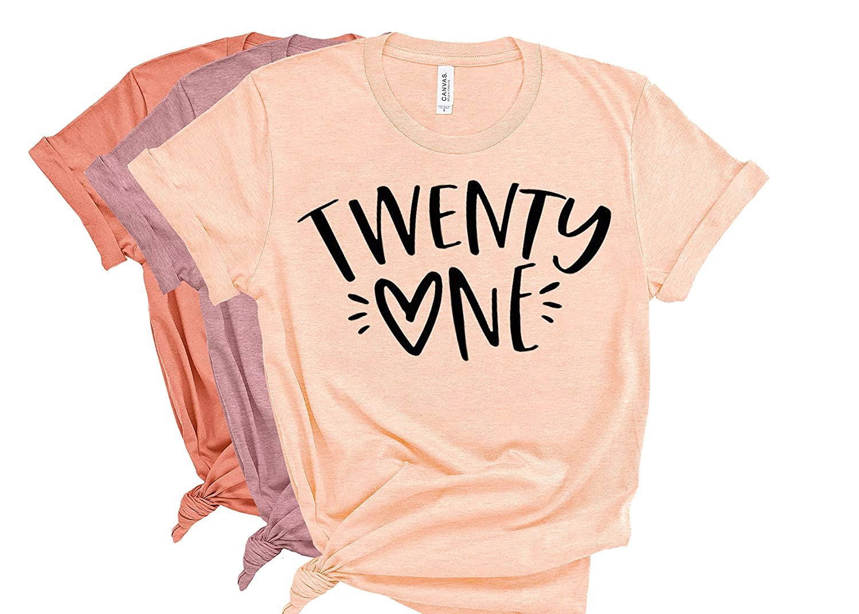 Deloach Couture Womens Twenty One Shirt Birthday 21st Ranking Fashion TOP7 wit