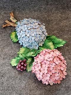 Tralcio floreale con ortensie in porcellana Capodimonte Visconti