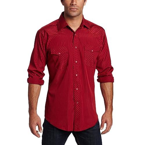 Wrangler Mens Tall Sport Western Snap Shirt in Dobby Stripe
