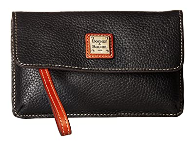 Dooney & Bourke Pebble Milly Wristlet (Black/Tan Trim) Wristlet Handbags