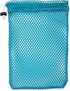 """Mesh Stuff Bag - 11"""" x 15"""" - Durable Mesh Bag with Sliding Drawstring Cord Lock Closure. Great for Washing Delicates, Rinsing Beach Toys, Seashell Collecting or Scout Mess Bags. (Turquoise)"""