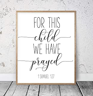 For This Child We Have Prayed 1 Samuel 1 27 Bible Verse Printable Wall Art Bible Quotes Christian Gifts Scripture Wall Art Kids Room Wood Pallet Design Wall Art Sign Plaque with Frame wooden sign