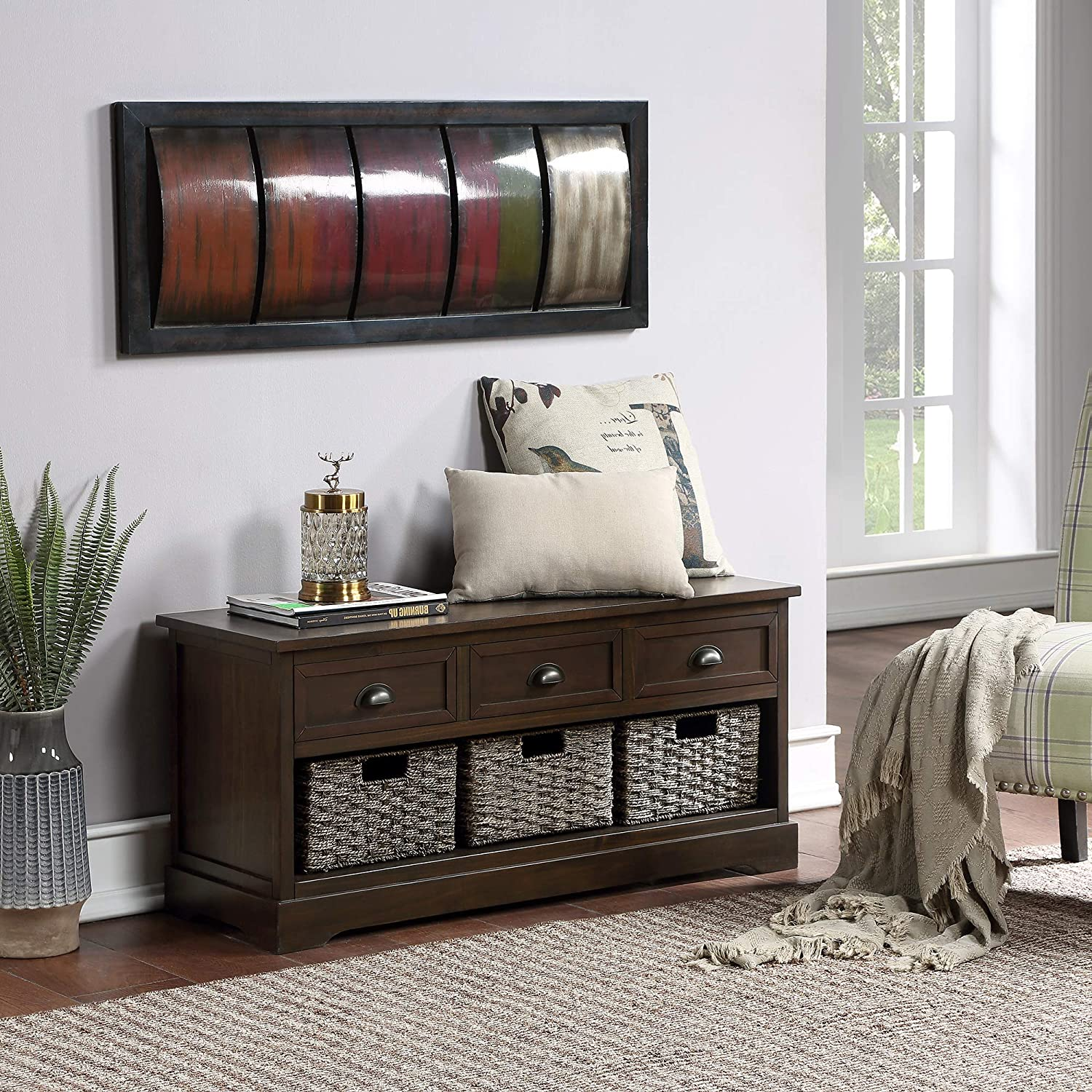 Spasm price Homes Collection Wood Excellent Storage Shoe Bench wi