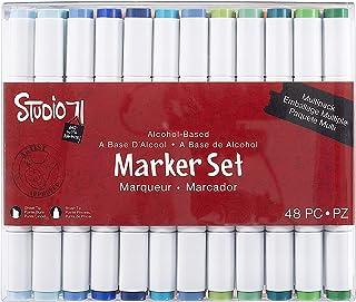 Darice Studio 71, Dual Tip, 48 Pieces Alcohol-Based Marker Set, Multicolor