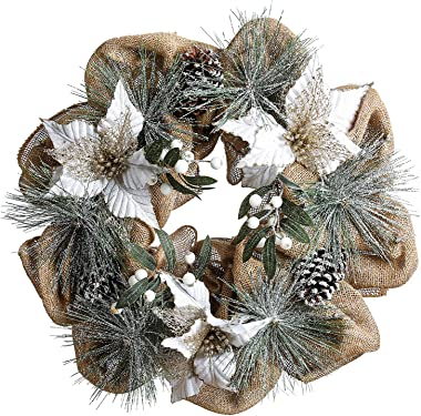 QL DESIGN 20 inch LED Warm Light Holly and Poinsettia Flowers Christmas Wreath, Hand Made Burlap with Timer(not Including Batteries)