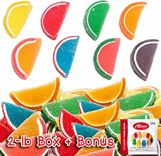 Jelly Fruit Slices Assorted Candy 2 LB Bulk Box 60-70 ct + Bonus Albanese 12-Flavor Gummi Bears Fun Pack Traditional Old Fashioned Gummy Sweets