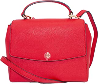 Tory Burch 63981 Brilliant Red (Red) Gold Hardware Emerson Structured Women's Satchel
