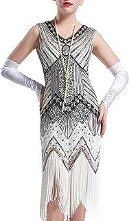 Babeyond Donna Flapper abiti con V-Collo frange di perline vestito grande Gatsby 1920