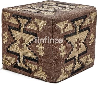 "iinfinize Kilim Bean Bag Cover Wool Jute Pouf Cube Ottoman Rustic Footstool 18"" Inch Designing Pattern Pouf Bohemian Pouf"