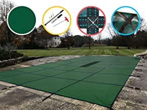 WaterWarden Safety Pool Cover for 20' x 40' In Ground Pool, Solid Green, with Center Drain Panel