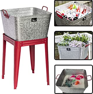 Backyard Expressions - 17 Gallon Metal Galvanized Tub - Can be Used as a Large Party Beverage Tub, Wash Tub or a Galvanized Planter for Outdoors
