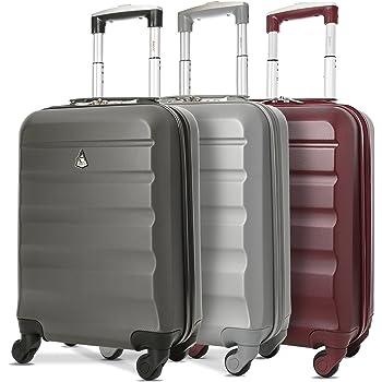 Aerolite ABS Cabine Bagage à Main Valise Rigide Légere à 4 roulettes, pour Ryanair Easyjet et Plus, Set de 3 Valises, Gris Foncé + Argent + Vin Rouge