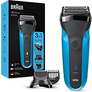 Braun Shaver 310BT,Series 3 Shave and Style Rechargeable Wet and Dry Electric Shaver, Blue/Black