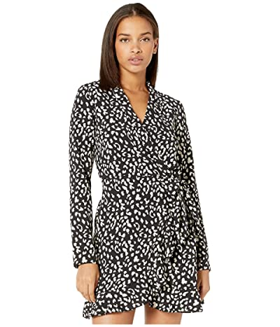 Bardot Leo Wrap Dress (Black Leopard) Women