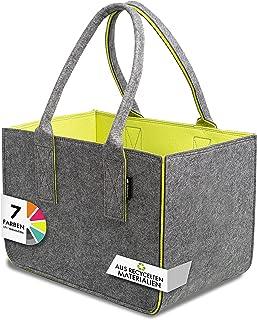 Tebewo Shopping Bag aus Filz, große Einkaufs-Tasche mit Henkel, Einkaufskorb, Faltbare Kaminholztasche zur Aufbewahrung vo...