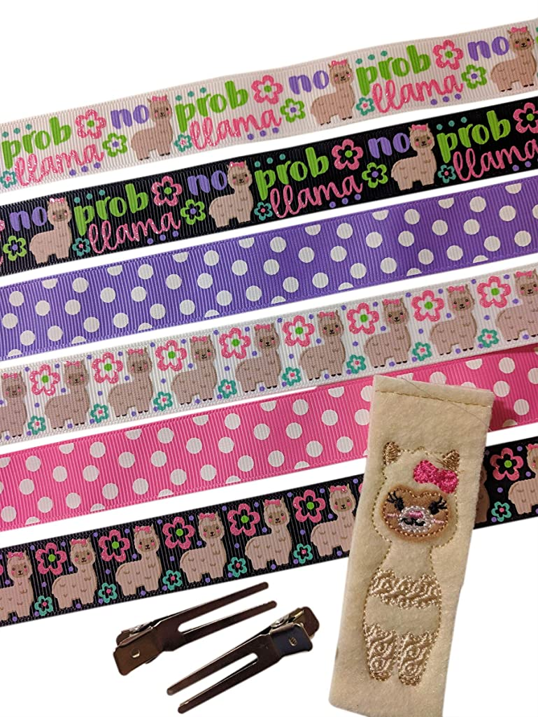 Lulu's Bowtique Supply Hair Bow Making Kit, DIY Hair Bow, Llama bundle, 18 yards Printed Ribbon Kit