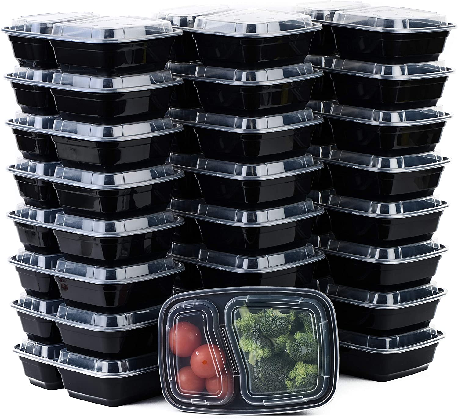 [100 Pack] 2 Compartment Microwavable Meal Prep Containers with Lids 38 oz, Reusable Bento Box, Food Storage Containers | BPA Free | Stackable | Lunch Boxes, Microwave/Dishwasher/Freezer Safe
