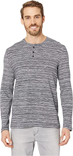 Long Sleeve Space Dye Three-Button Henley