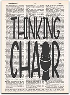 Thinking Chair, Toilet Humor Signs, Vintage Bathroom Wall Art on Dictionary Page