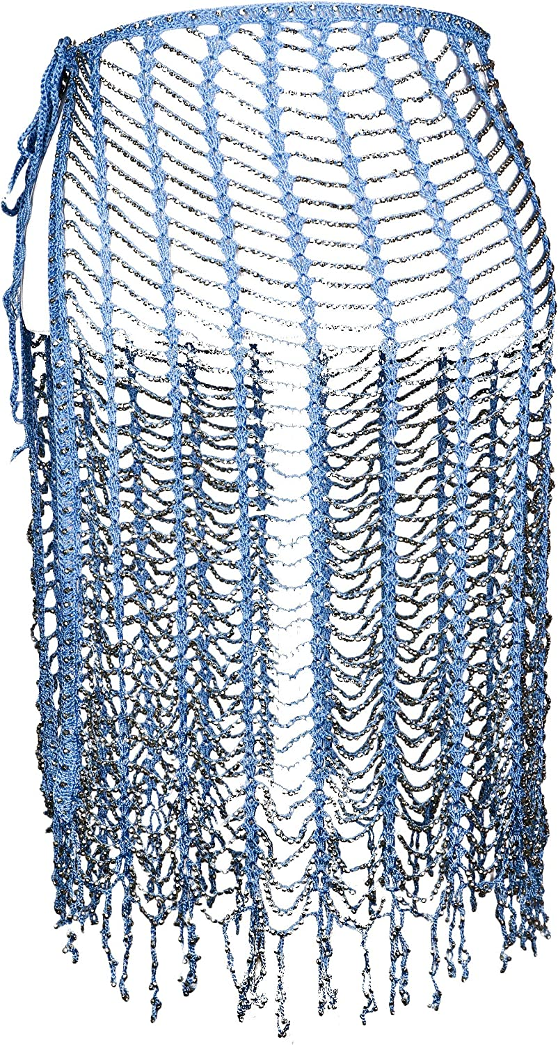 Western F.a.s.h.i.o.n Beaded Wrap Crochet Scarf with Tie Strings