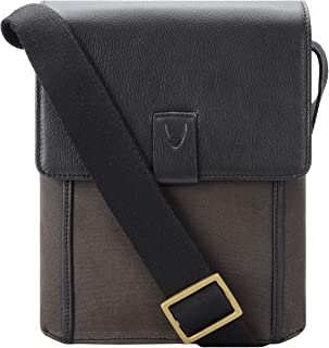 Hidesign Men's Aiden Canvas Leather Crossbody Messenger Bag Satchel Shoulder Bag Bracken Black