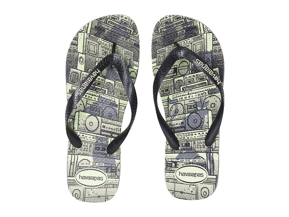 380440ff508f Havaianas 4 Nite Flip Flops (Black Fiesta) Men s Sandals
