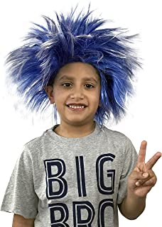 KINREX Spiky Funky Punk Halloween Blue Costume Wig for Kids and Adults - Unisex - One Size Fits All